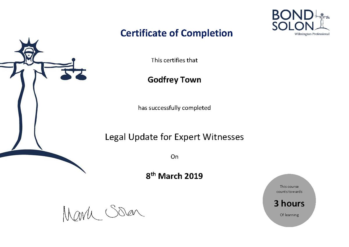 Godfrey Town Legal Update for Expert Witnesses
