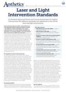 Aesthetics Magazine--Laser and Light Intervention Standards